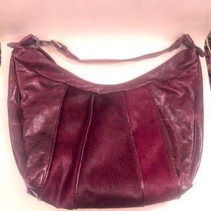 Marco Buggiani leather/calf hair bag, merlot